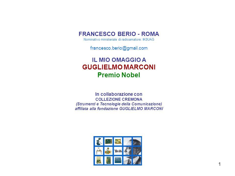 2 Guglielmo Marconi un genio Italiano per l'umanità a cura di Francesco Berio E S T R A T T O