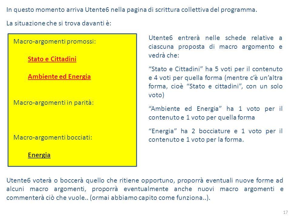 In questo momento arriva Utente6 nella pagina di scrittura collettiva del programma.