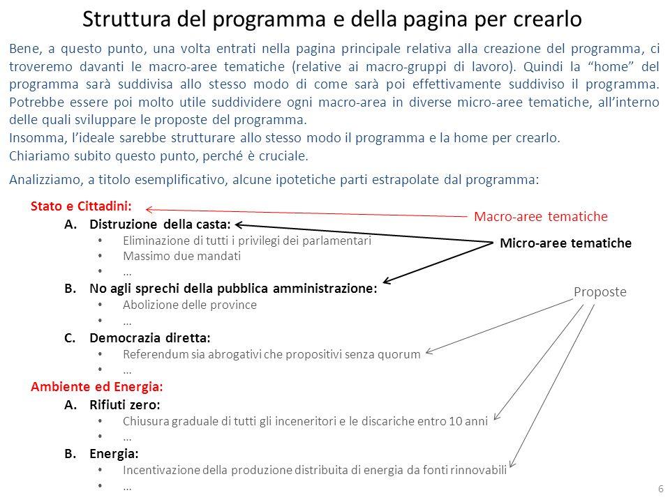 6 Bene, a questo punto, una volta entrati nella pagina principale relativa alla creazione del programma, ci troveremo davanti le macro-aree tematiche (relative ai macro-gruppi di lavoro).