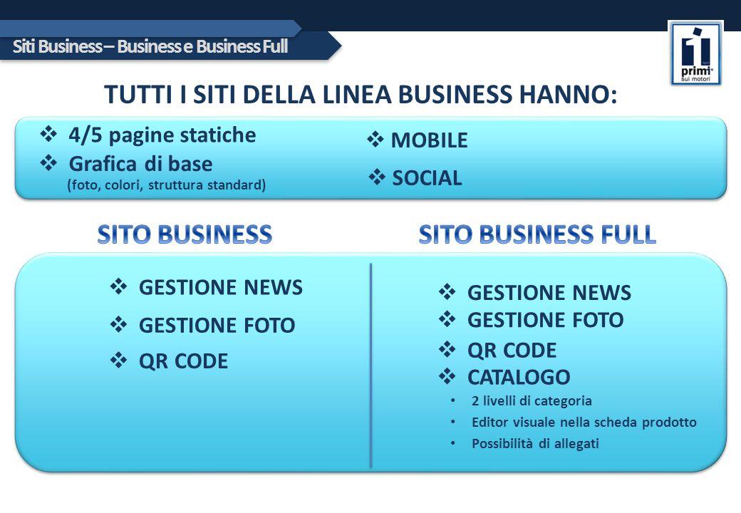 Siti Business – Business e Business Full TUTTI I SITI DELLA LINEA BUSINESS HANNO:  4/5 pagine statiche  Grafica di base (foto, colori, struttura sta
