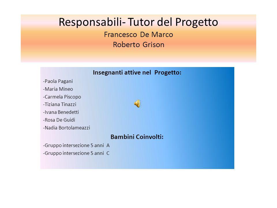 Responsabili- Tutor del Progetto Francesco De Marco Roberto Grison Insegnanti attive nel Progetto: -Paola Pagani -Maria Mineo -Carmela Piscopo -Tizian
