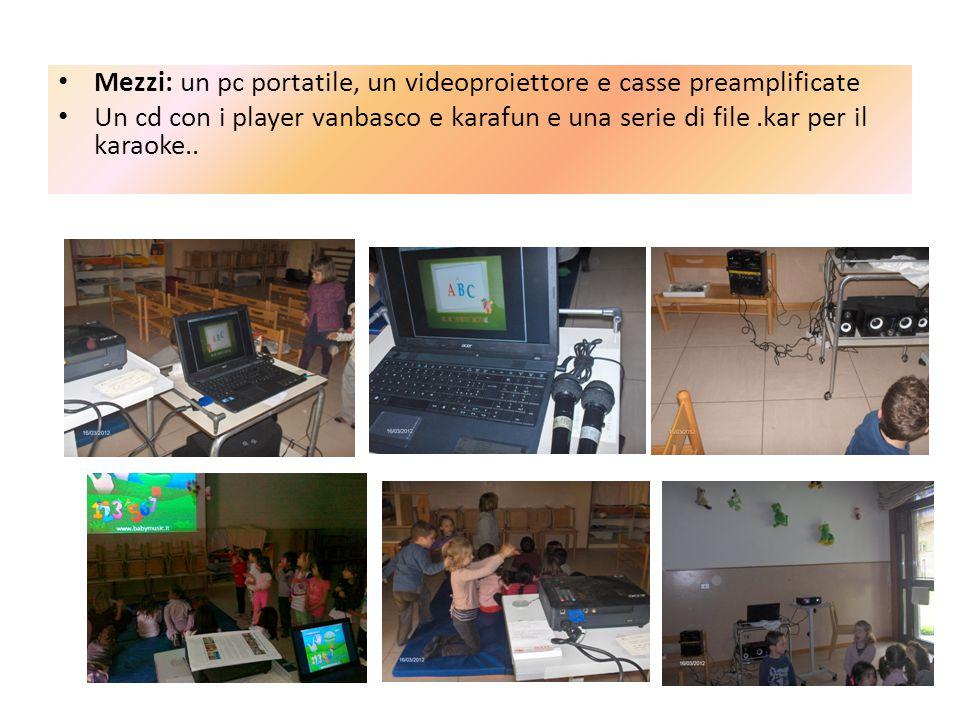 Mezzi: un pc portatile, un videoproiettore e casse preamplificate Un cd con i player vanbasco e karafun e una serie di file.kar per il karaoke..