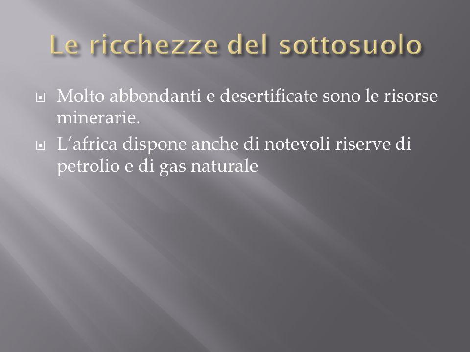  Molto abbondanti e desertificate sono le risorse minerarie.