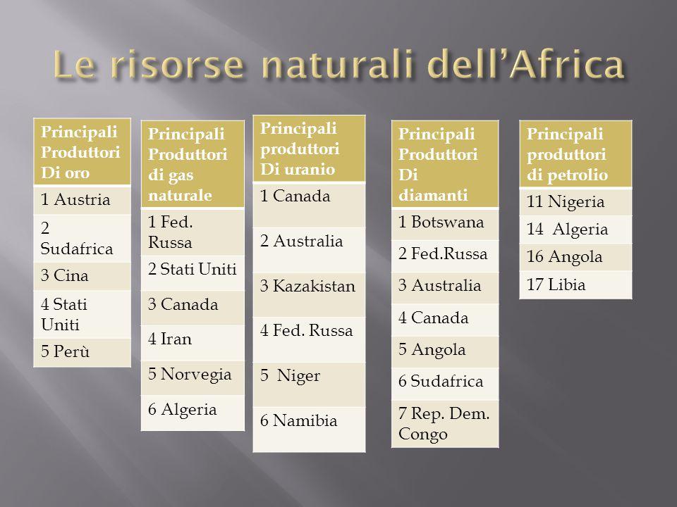 Principali Produttori Di oro 1 Austria 2 Sudafrica 3 Cina 4 Stati Uniti 5 Perù Principali Produttori di gas naturale 1 Fed.