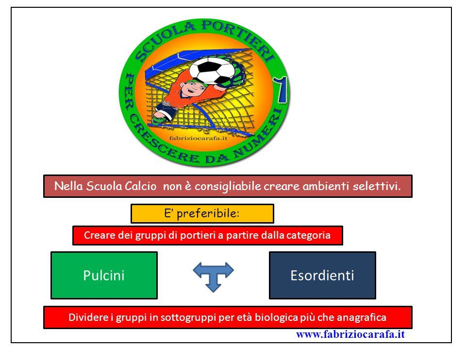 Nella Scuola Calcio non è consigliabile creare ambienti selettivi. E' preferibile: Creare dei gruppi di portieri a partire dalla categoria PulciniEsor