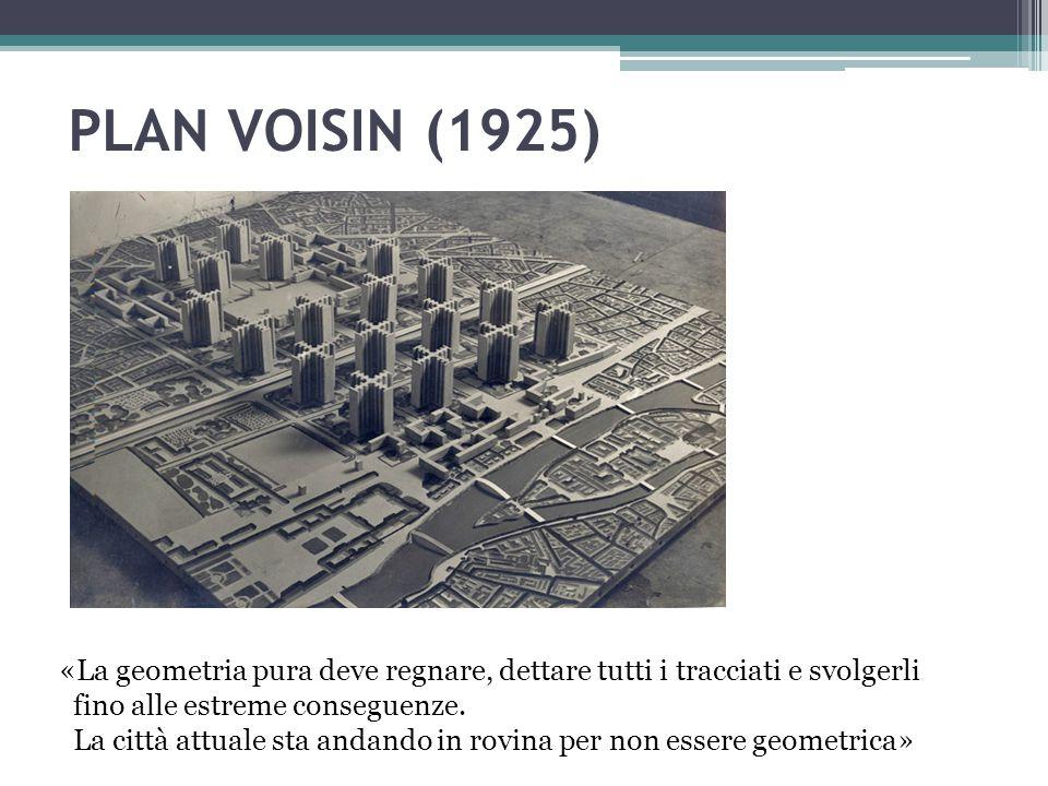 PLAN VOISIN (1925) «La geometria pura deve regnare, dettare tutti i tracciati e svolgerli fino alle estreme conseguenze. La città attuale sta andando