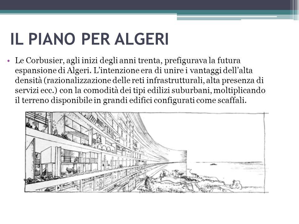 IL PIANO PER ALGERI Le Corbusier, agli inizi degli anni trenta, prefigurava la futura espansione di Algeri. L'intenzione era di unire i vantaggi dell'