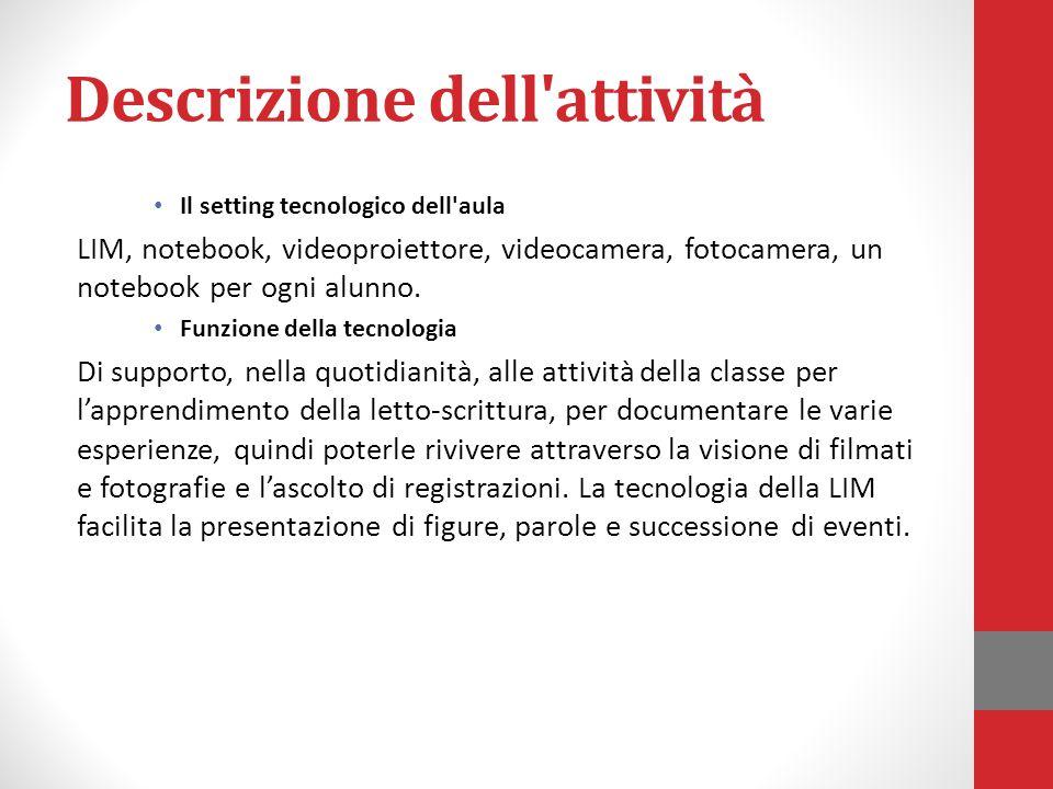 Descrizione dell attività Il setting tecnologico dell aula LIM, notebook, videoproiettore, videocamera, fotocamera, un notebook per ogni alunno.