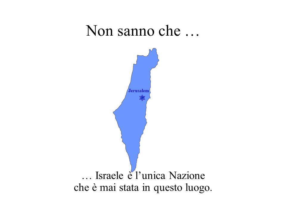  Jerusalem Non sanno che … … Israele è l'unica Nazione che è mai stata in questo luogo.