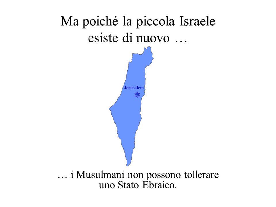  Jerusalem Ma poiché la piccola Israele esiste di nuovo … … i Musulmani non possono tollerare uno Stato Ebraico.