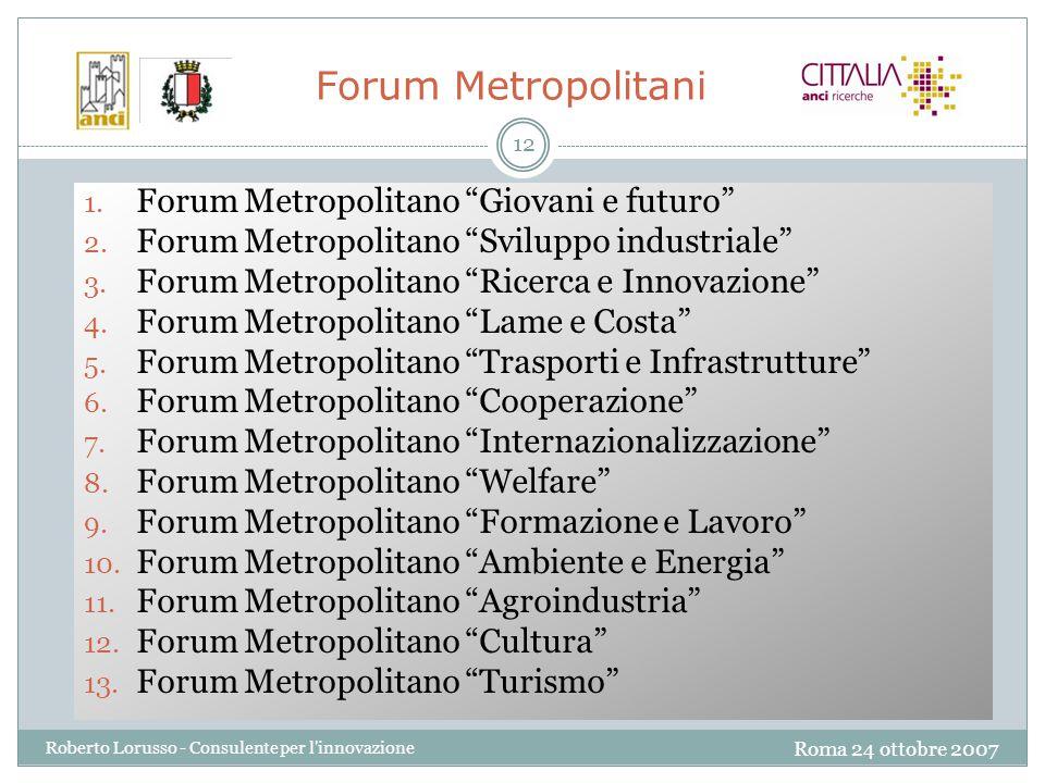 Roma 24 ottobre 2007 Roberto Lorusso - Consulente per l innovazione 12 1.