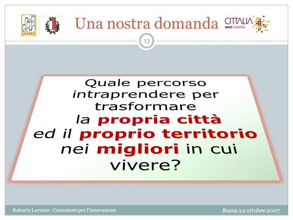 Roma 24 ottobre 2007 Roberto Lorusso - Consulente per l innovazione 13 Una nostra domanda