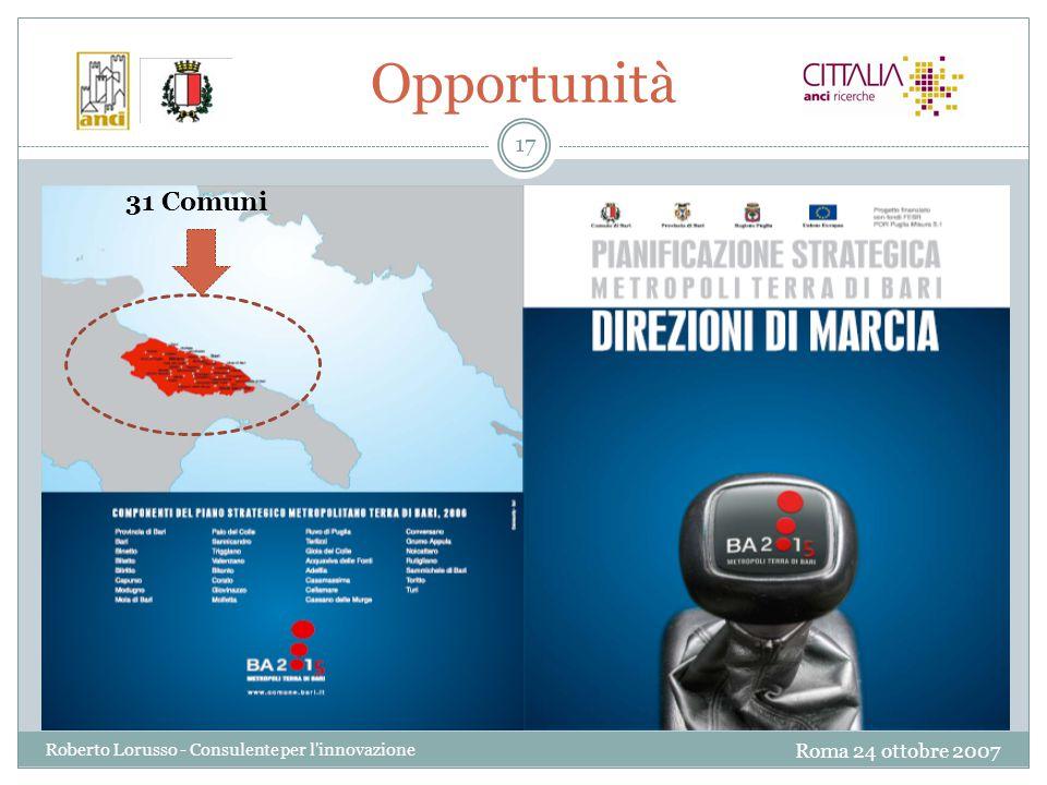 Roma 24 ottobre 2007 Roberto Lorusso - Consulente per l innovazione 17 Opportunità 31 Comuni
