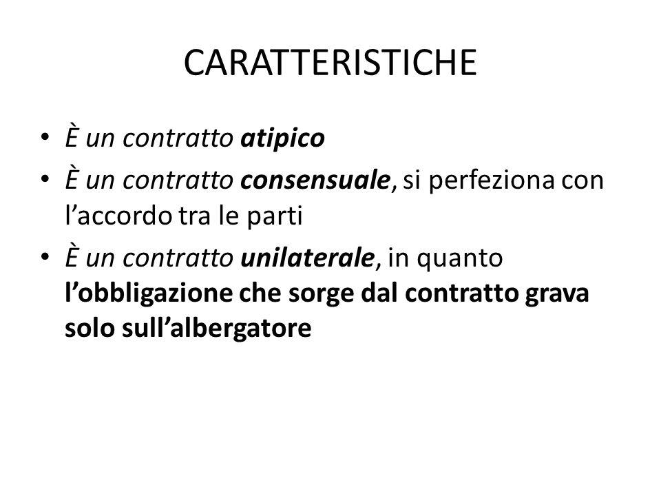 CARATTERISTICHE È un contratto atipico È un contratto consensuale, si perfeziona con l'accordo tra le parti È un contratto unilaterale, in quanto l'ob