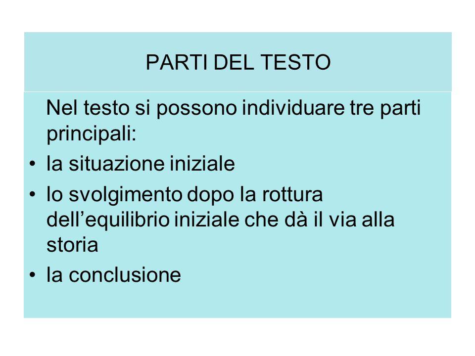 PARTI DEL TESTO Nel testo si possono individuare tre parti principali: la situazione iniziale lo svolgimento dopo la rottura dell'equilibrio iniziale