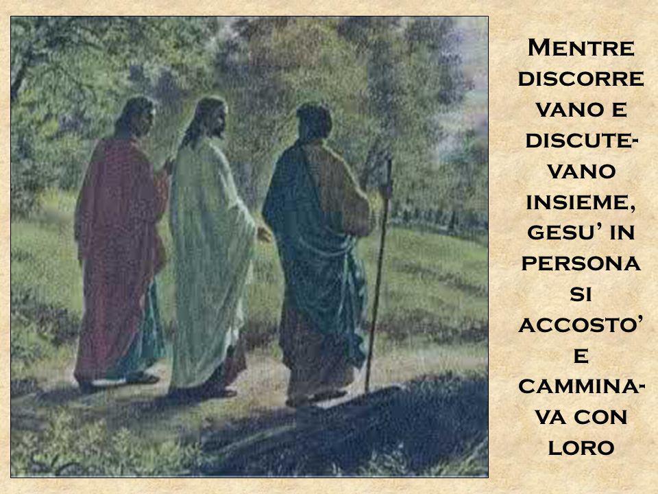 Mentre discorre vano e discute- vano insieme, gesu' in persona si accosto' e cammina- va con loro
