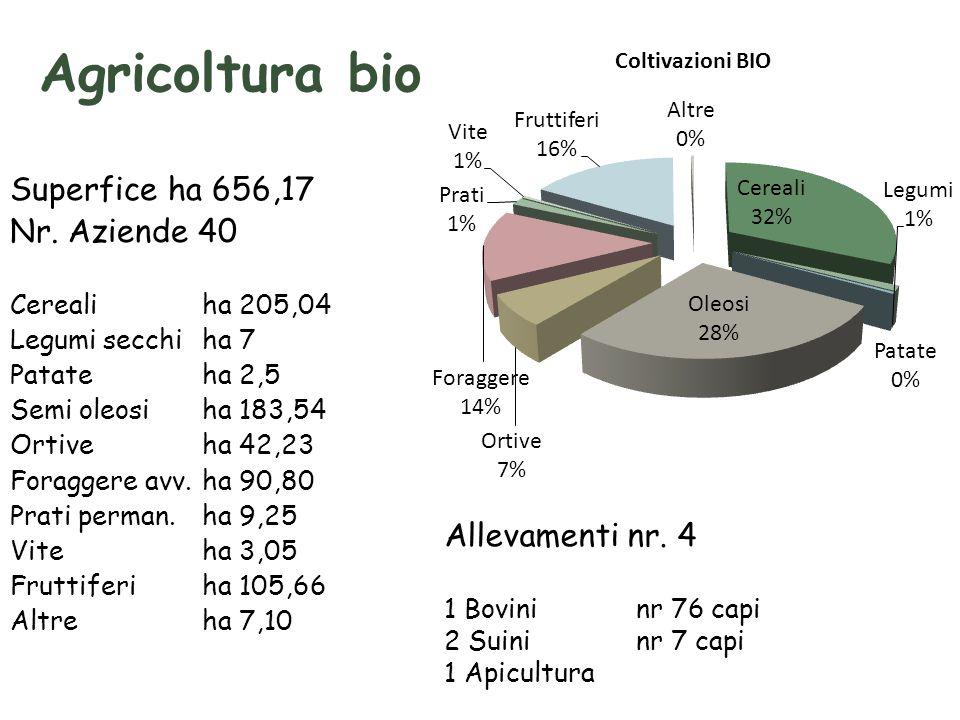Agricoltura bio Superfice ha 656,17 Nr.