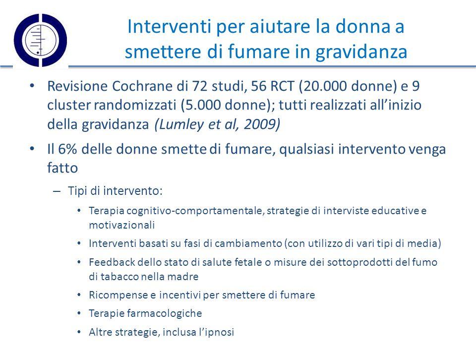 Interventi per aiutare la donna a smettere di fumare in gravidanza Revisione Cochrane di 72 studi, 56 RCT (20.000 donne) e 9 cluster randomizzati (5.000 donne); tutti realizzati all'inizio della gravidanza (Lumley et al, 2009) Il 6% delle donne smette di fumare, qualsiasi intervento venga fatto – Tipi di intervento: Terapia cognitivo-comportamentale, strategie di interviste educative e motivazionali Interventi basati su fasi di cambiamento (con utilizzo di vari tipi di media) Feedback dello stato di salute fetale o misure dei sottoprodotti del fumo di tabacco nella madre Ricompense e incentivi per smettere di fumare Terapie farmacologiche Altre strategie, inclusa l'ipnosi