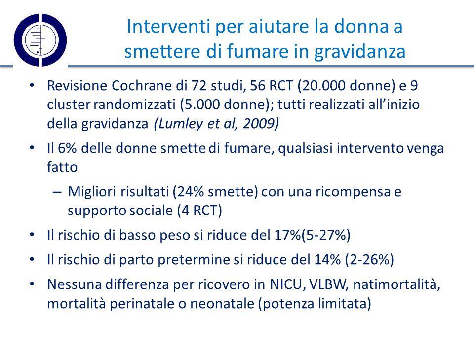 Interventi per aiutare la donna a smettere di fumare in gravidanza Revisione Cochrane di 72 studi, 56 RCT (20.000 donne) e 9 cluster randomizzati (5.000 donne); tutti realizzati all'inizio della gravidanza (Lumley et al, 2009) Il 6% delle donne smette di fumare, qualsiasi intervento venga fatto – Migliori risultati (24% smette) con una ricompensa e supporto sociale (4 RCT) Il rischio di basso peso si riduce del 17%(5-27%) Il rischio di parto pretermine si riduce del 14% (2-26%) Nessuna differenza per ricovero in NICU, VLBW, natimortalità, mortalità perinatale o neonatale (potenza limitata)
