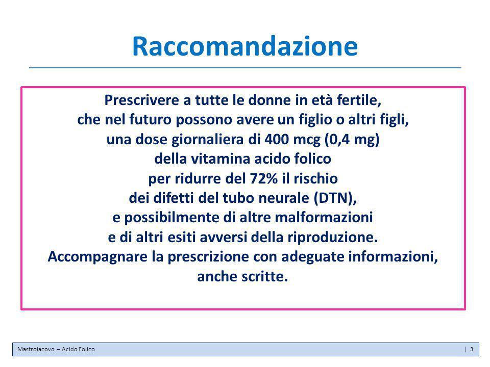 Raccomandazione Mastroiacovo – Acido Folico | 3 Prescrivere a tutte le donne in età fertile, che nel futuro possono avere un figlio o altri figli, una