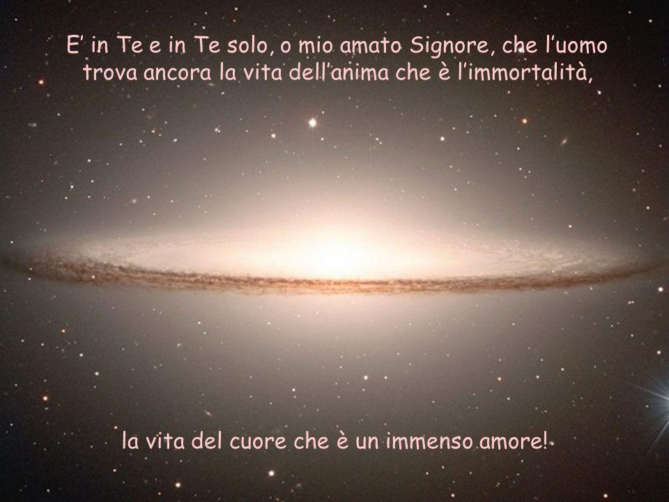 E' in Te e in Te solo, o mio amato Signore, che l'uomo trova ancora la vita dell'anima che è l'immortalità, la vita del cuore che è un immenso amore!