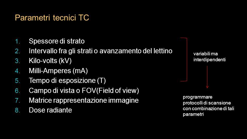 Parametri tecnici TC 1. Spessore di strato 2. Intervallo fra gli strati o avanzamento del lettino 3. Kilo-volts (kV) 4. Milli-Amperes (mA) 5. Tempo di