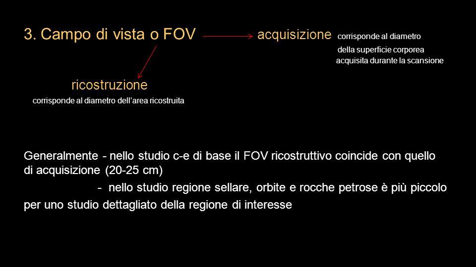 3. Campo di vista o FOV acquisizione corrisponde al diametro della superficie corporea acquisita durante la scansione ricostruzione corrisponde al dia