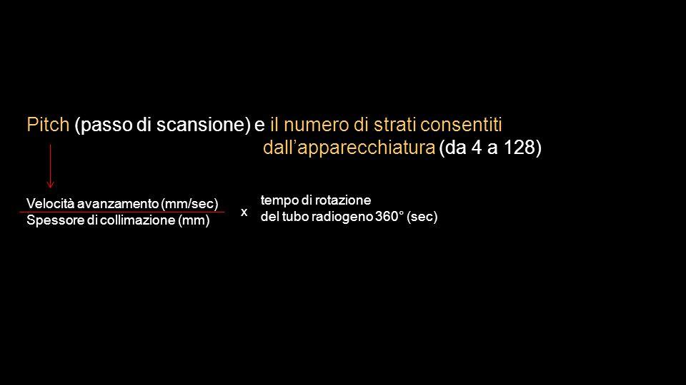 Pitch (passo di scansione) e il numero di strati consentiti dall'apparecchiatura (da 4 a 128) Velocità avanzamento (mm/sec) Spessore di collimazione (