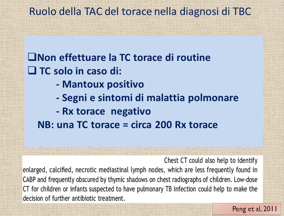 Ruolo della TAC del torace nella diagnosi di TBC  Non effettuare la TC torace di routine  TC solo in caso di: - Mantoux positivo - Segni e sintomi d