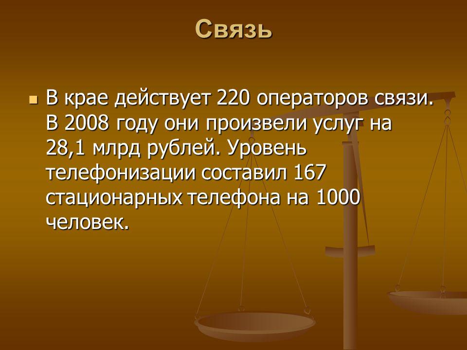 Связь В крае действует 220 операторов связи. В 2008 году они произвели услуг на 28,1 млрд рублей.