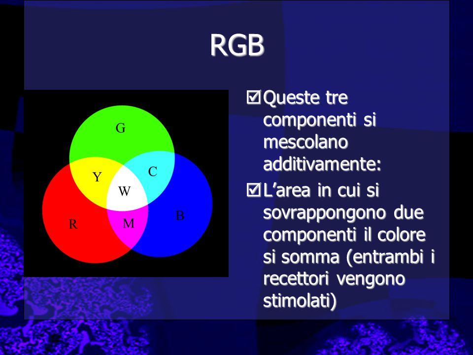 RGB  Queste tre componenti si mescolano additivamente:  L'area in cui si sovrappongono due componenti il colore si somma (entrambi i recettori vengono stimolati)