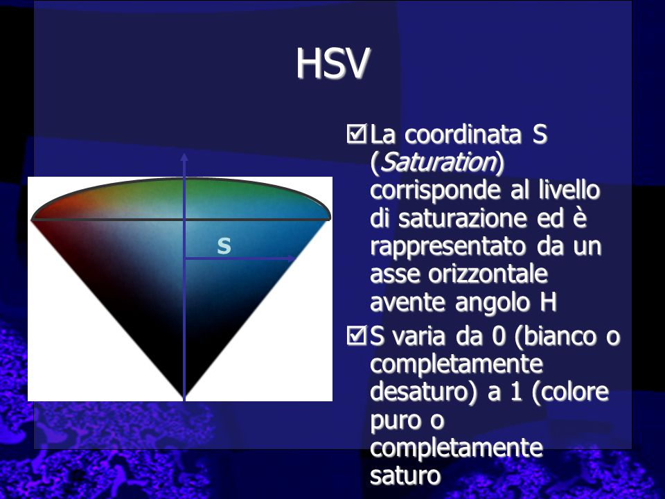 HSV  La coordinata S (Saturation) corrisponde al livello di saturazione ed è rappresentato da un asse orizzontale avente angolo H  S varia da 0 (bianco o completamente desaturo) a 1 (colore puro o completamente saturo S