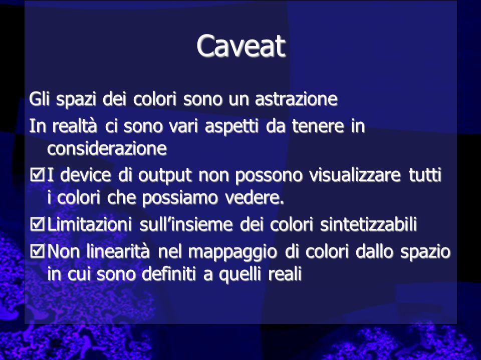 Caveat Gli spazi dei colori sono un astrazione In realtà ci sono vari aspetti da tenere in considerazione  I device di output non possono visualizzare tutti i colori che possiamo vedere.