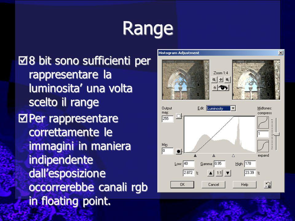Range  8 bit sono sufficienti per rappresentare la luminosita' una volta scelto il range  Per rappresentare correttamente le immagini in maniera indipendente dall'esposizione occorrerebbe canali rgb in floating point.