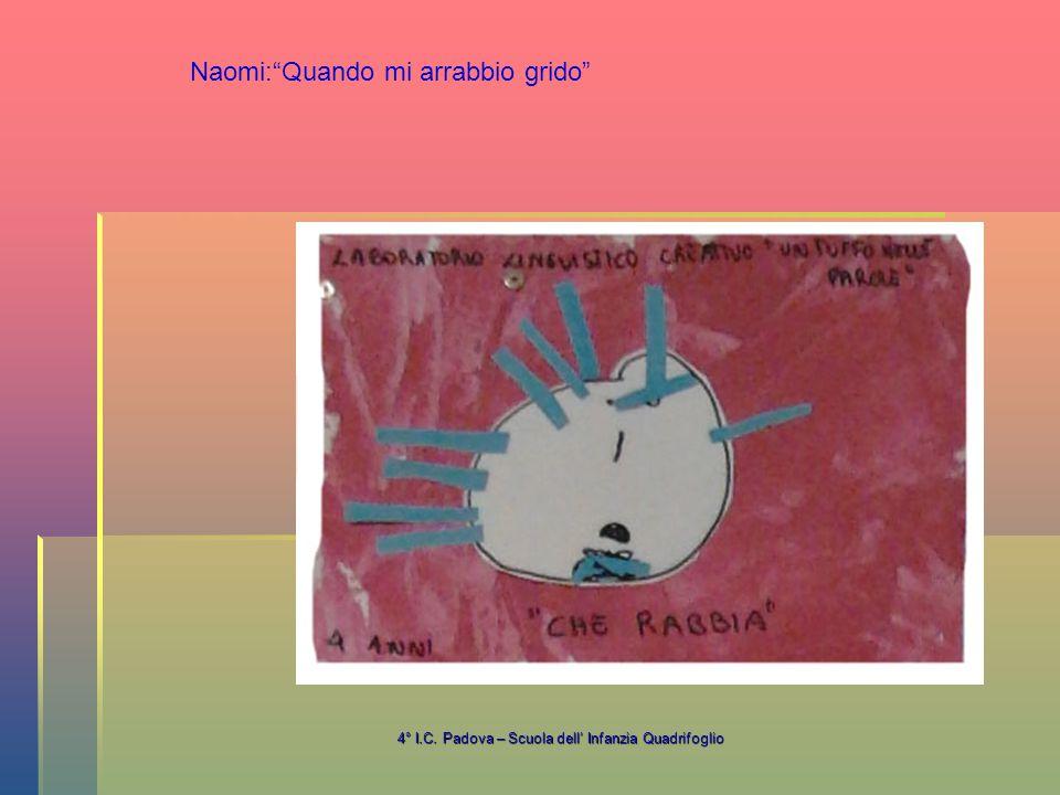4° I.C. Padova – Scuola dell' Infanzia Quadrifoglio Naomi: Quando mi arrabbio grido