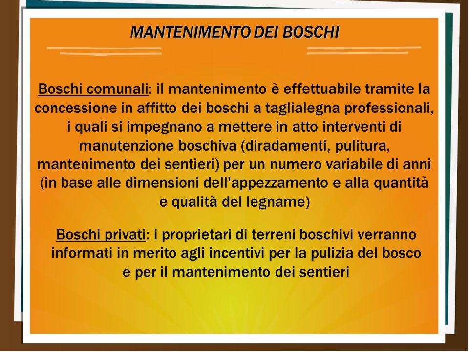 MANTENIMENTO DEI BOSCHI Boschi comunali: il mantenimento è effettuabile tramite la concessione in affitto dei boschi a taglialegna professionali, i qu