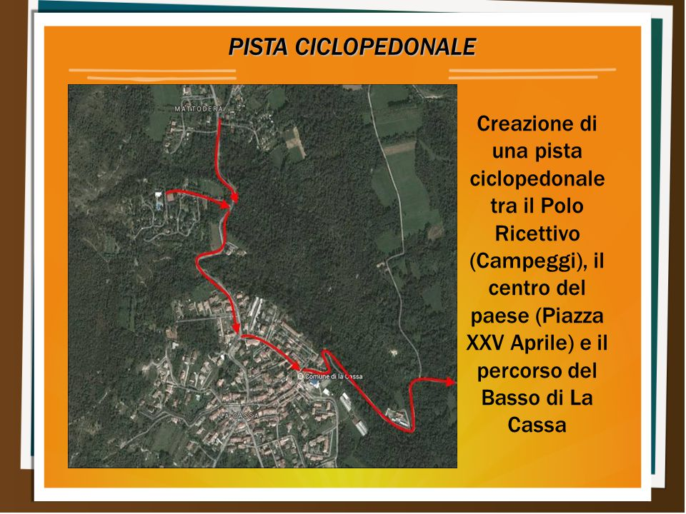 PISTA CICLOPEDONALE PISTA CICLOPEDONALE Creazione di una pista ciclopedonale tra il Polo Ricettivo (Campeggi), il centro del paese (Piazza XXV Aprile) e il percorso del Basso di La Cassa