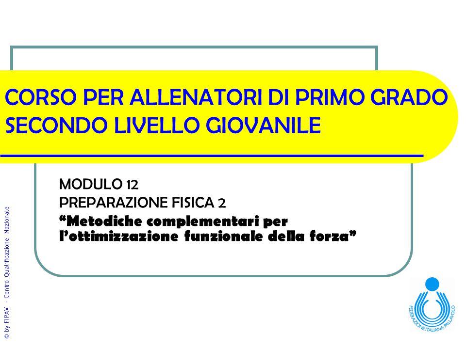 """© by FIPAV - Centro Qualificazione Nazionale CORSO PER ALLENATORI DI PRIMO GRADO SECONDO LIVELLO GIOVANILE MODULO 12 PREPARAZIONE FISICA 2 """"Metodiche"""