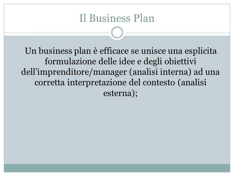 Un business plan è efficace se unisce una esplicita formulazione delle idee e degli obiettivi dell'imprenditore/manager (analisi interna) ad una corre