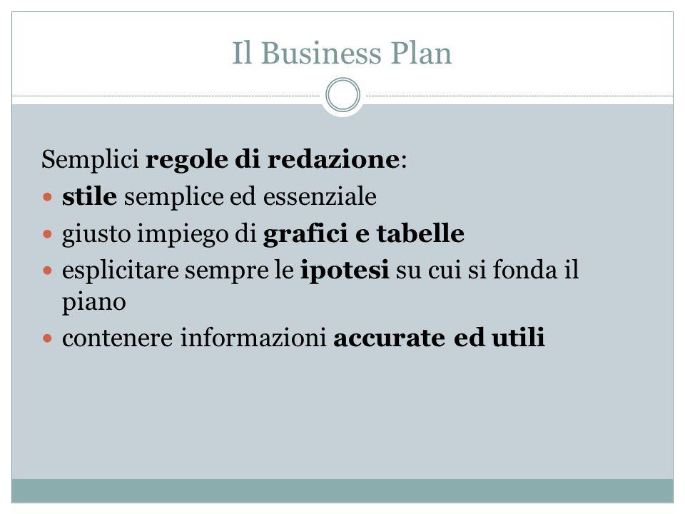 Il Business plan illustra anche le finalità perseguite dalla pianificazione: Fattibilità investimento Richiesta di finanziamento Analisi di mercato Valutazione di azienda Pianificazione strategica Budgeting Pianificazione operativa Il Business Plan