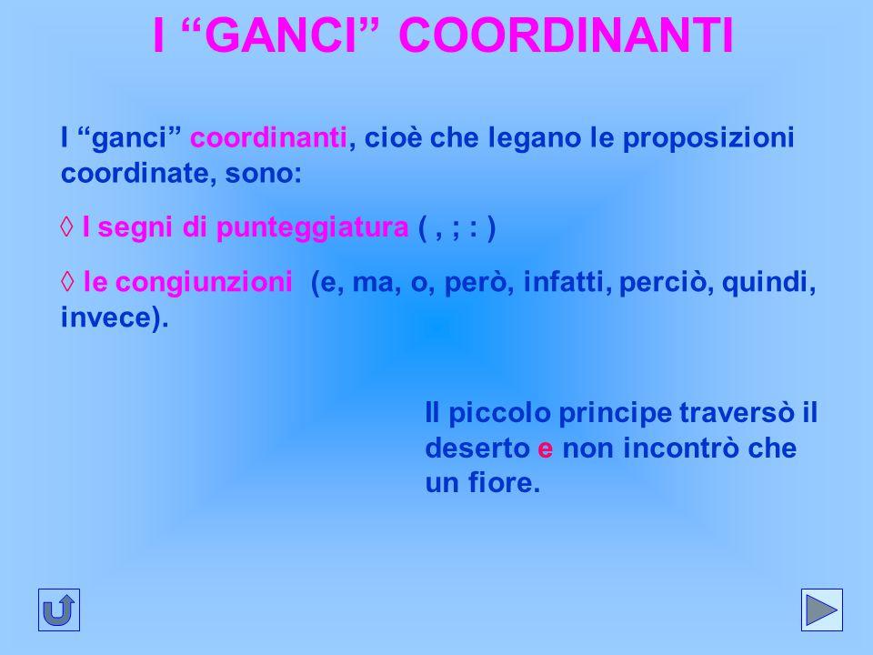 """I """"GANCI"""" COORDINANTI I """"ganci"""" coordinanti, cioè che legano le proposizioni coordinate, sono: ◊ I segni di punteggiatura (, ; : ) ◊ le congiunzioni ("""