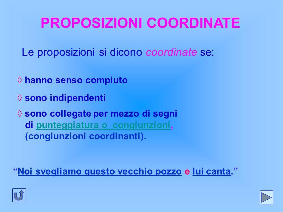 PROPOSIZIONI COORDINATE Le proposizioni si dicono coordinate se: ◊ hanno senso compiuto ◊ sono indipendenti ◊ sono collegate per mezzo di segni di pun