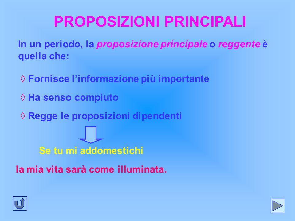 PROPOSIZIONI PRINCIPALI In un periodo, la proposizione principale o reggente è quella che: ◊ Fornisce l'informazione più importante ◊ Ha senso compiut