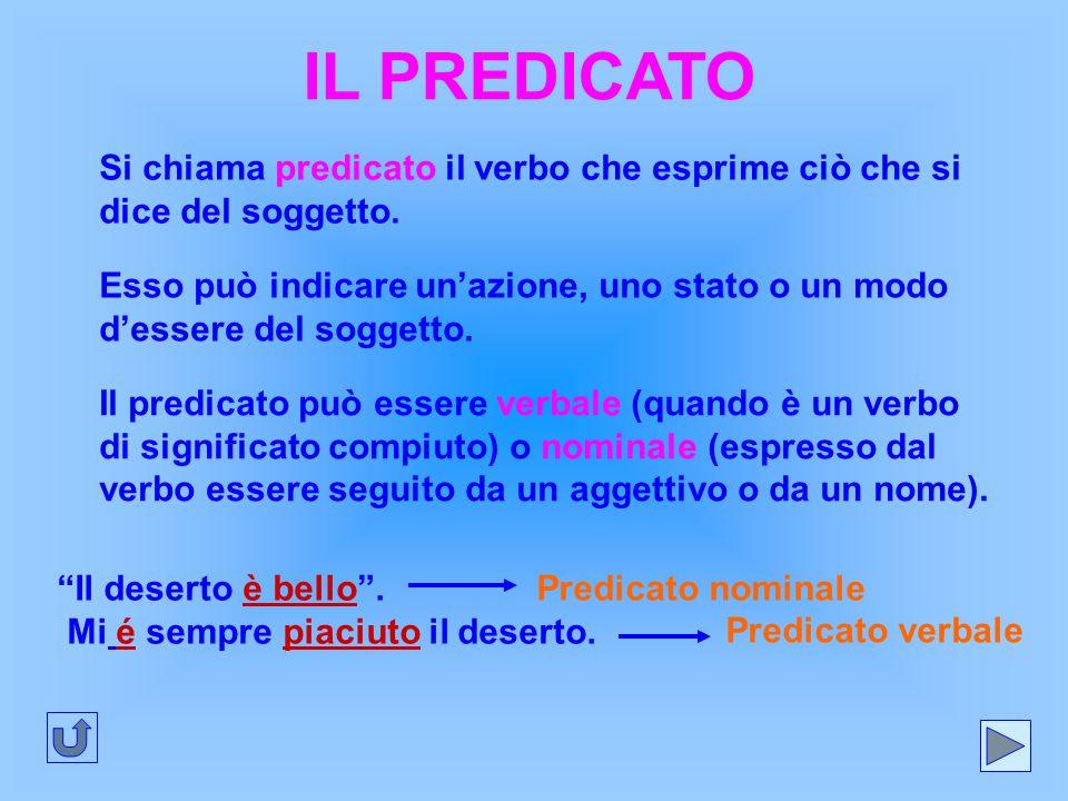 IL PREDICATO Si chiama predicato il verbo che esprime ciò che si dice del soggetto. Esso può indicare un'azione, uno stato o un modo d'essere del sogg