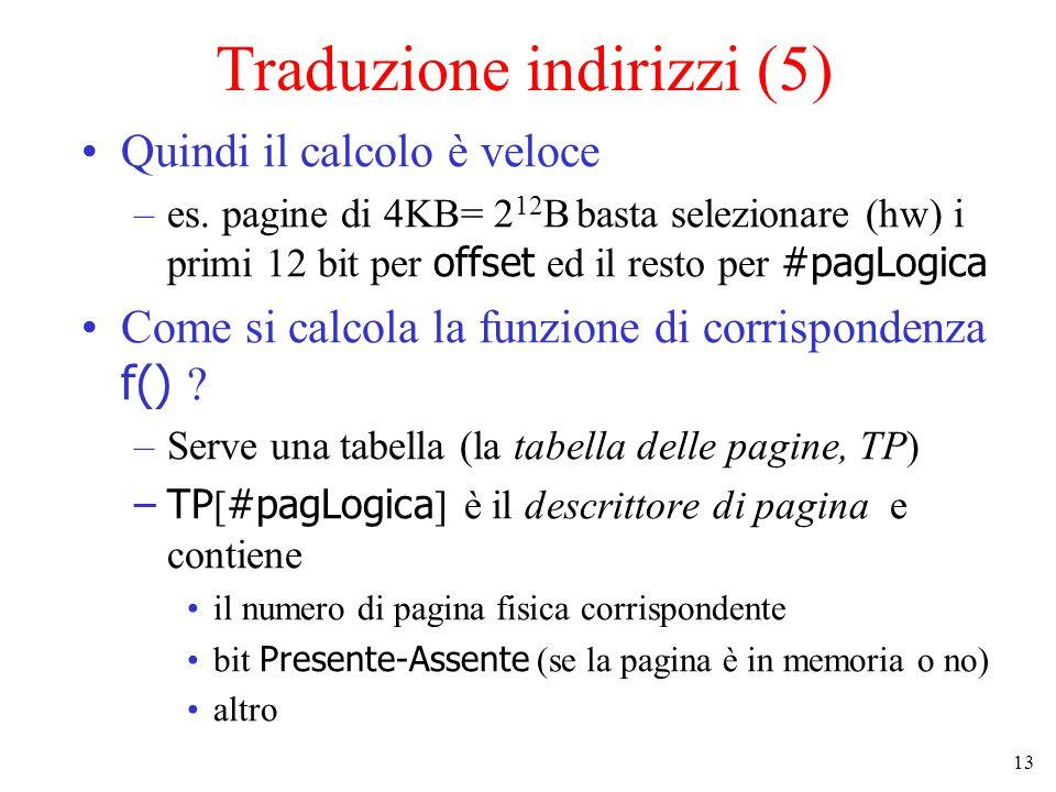 13 Traduzione indirizzi (5) Quindi il calcolo è veloce –es. pagine di 4KB= 2 12 B basta selezionare (hw) i primi 12 bit per offset ed il resto per #pa