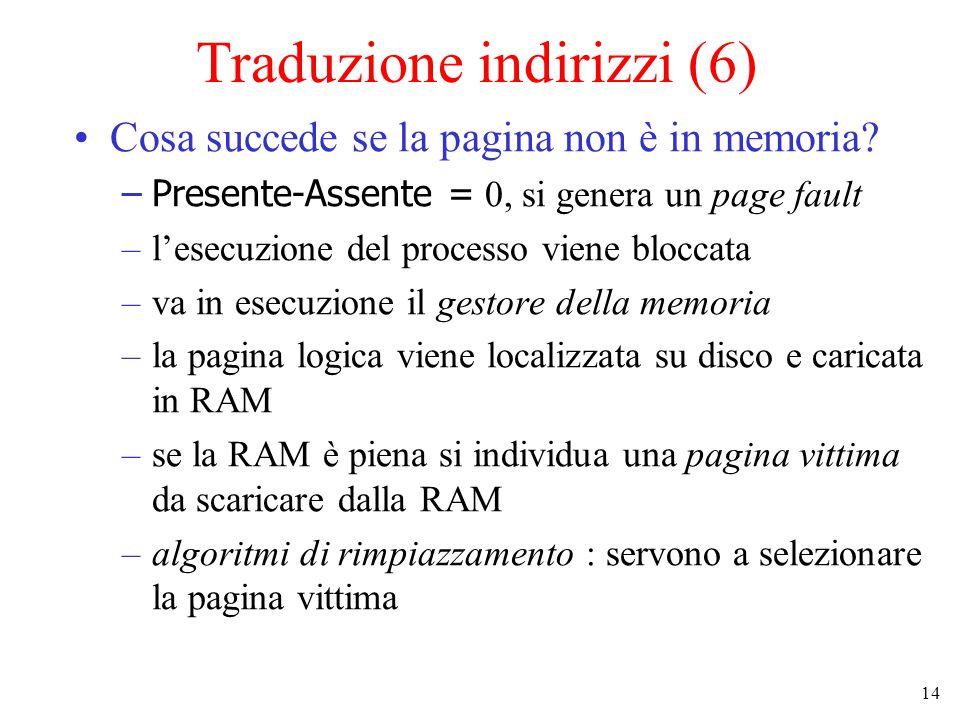 14 Traduzione indirizzi (6) Cosa succede se la pagina non è in memoria? –Presente-Assente = 0, si genera un page fault –l'esecuzione del processo vien