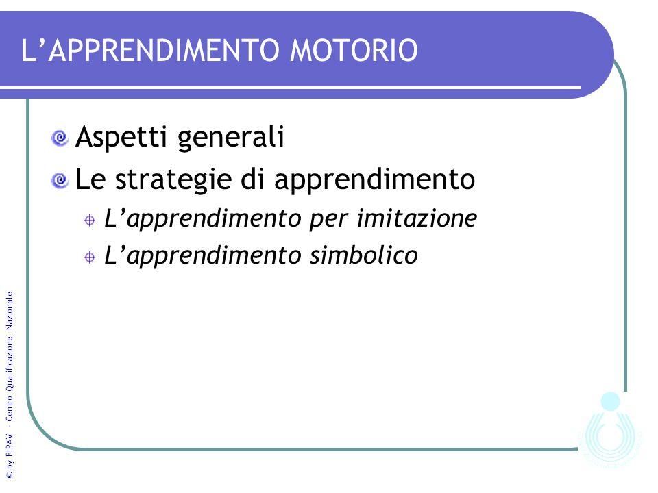 © by FIPAV - Centro Qualificazione Nazionale L'APPRENDIMENTO MOTORIO Aspetti generali Le strategie di apprendimento L'apprendimento per imitazione L'a