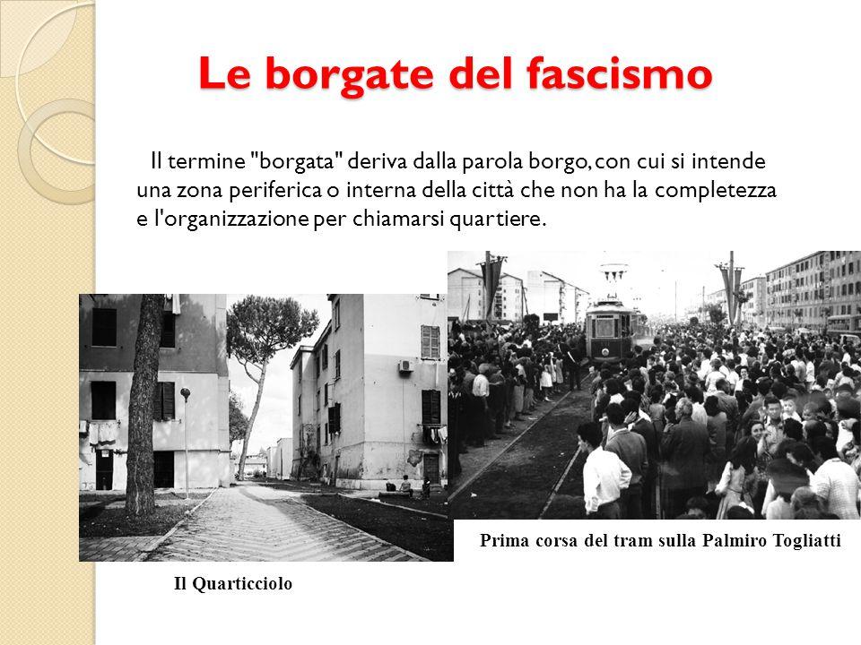 Le borgate del fascismo Il termine