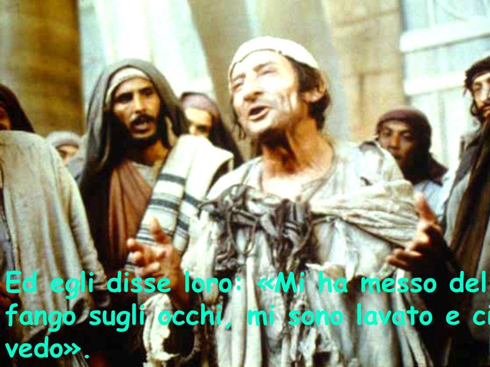 Ed egli disse loro: «Mi ha messo del fango sugli occhi, mi sono lavato e ci vedo».