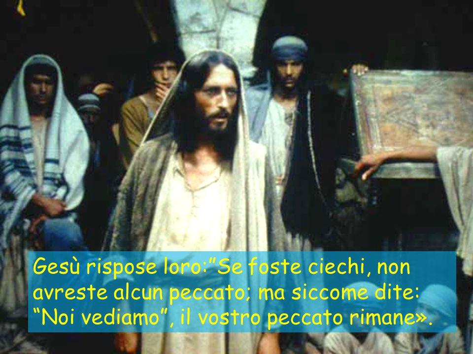 """Gesù rispose loro:""""Se foste ciechi, non avreste alcun peccato; ma siccome dite: """"Noi vediamo"""", il vostro peccato rimane»."""